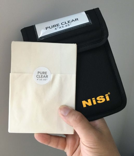 The NiSi Pure Clear 4x5.65 filter comes nicely packaged in with a filter pouch
