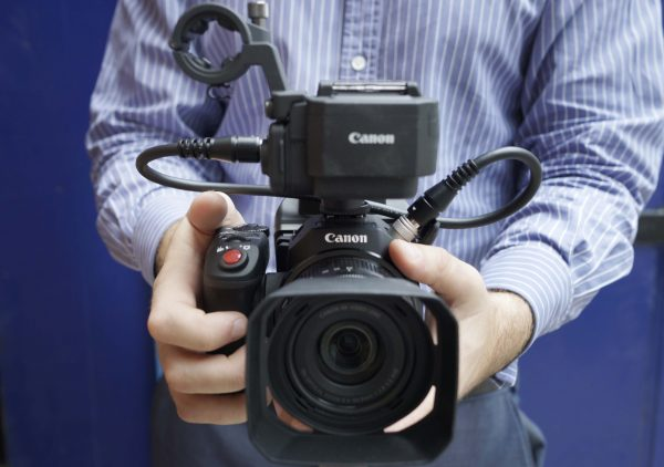 The Canon XC15 with shiny new XLR audio pack