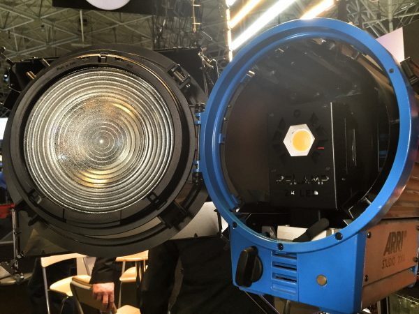 An ARRI halogen light with ReLamp module fitted.