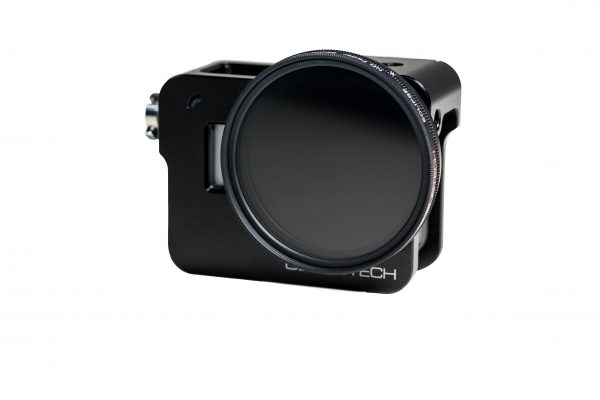 The Genus Hero5 cage with ND filter attached