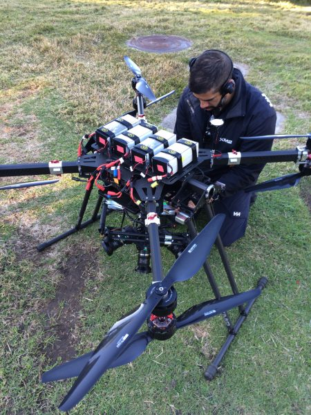 A custom drone flown by XM2 Aerial on a film I was working on in Australia.