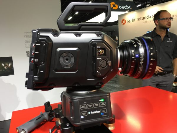 The Shootools Autopan can carry larger cameras like this URSA Mini