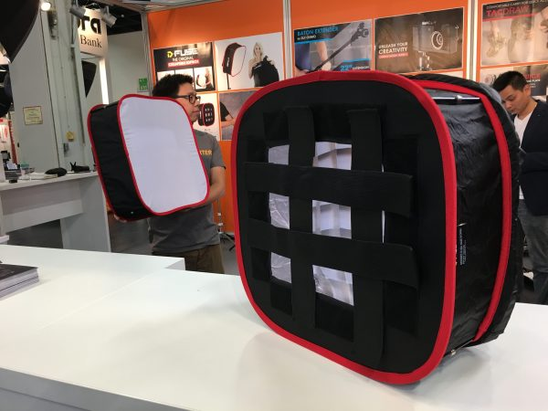 The Softboxes are attached using hook and loop straps