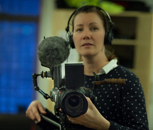 Video journalist Gry Kårstad tests the C300 rig. Photograph: Kjetil Solhøi