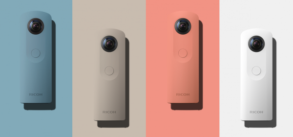The new Ricoh Theta SC comes in four colors: blue, beige, pink and white.