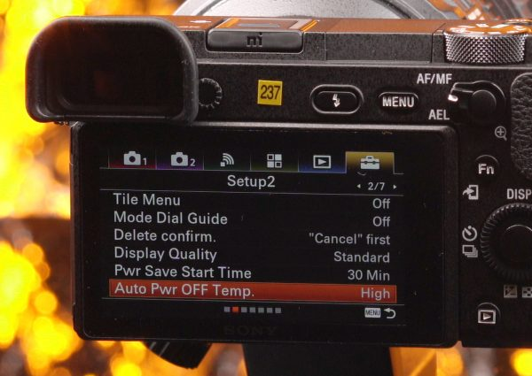 The new Auto Pwr OFF Temp setting on the a6500