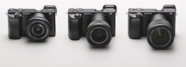 The a6000 (left), a6500 (centre) and a6300 all share the same styling
