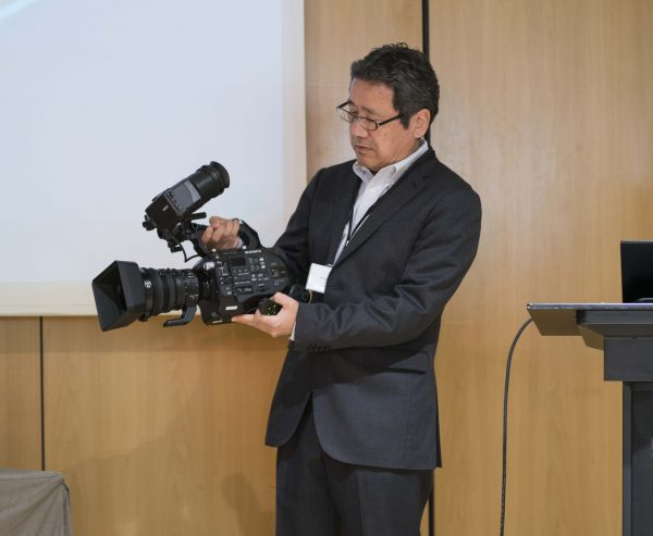 Sony's Hiromi Hoshino introduces the FS7 II at the European press event