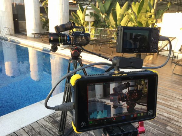Filming the FS7 II with the tiny RX100 V and an Atomos Shogun 4K recorder