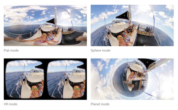 Within the Insta360 Air app, users can view their videos in flat mode, sphere mode, VR mode or planet mode.