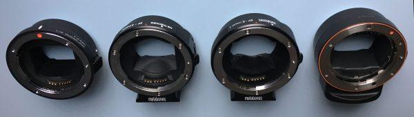 The Sigma MC-11, Metabones MK III, Metabones MKIV and Sony LA-EA3 E-mount adapters