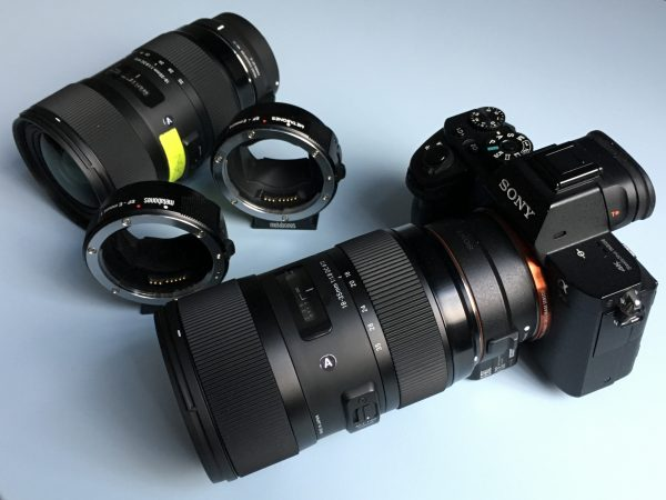 The Sony a7R II with my Sigma 18-35mm lenses and various adapters