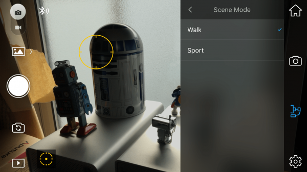 Scene mode adjustments are limited to Walk and Sport