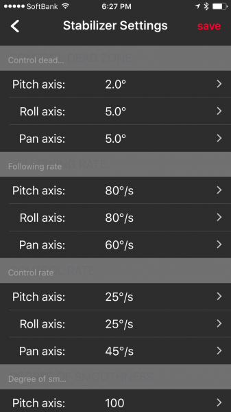 Very detailed settings for making adjustments to the Smooth-Q gimbal