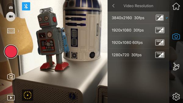 The DJI GO app video resolution screen