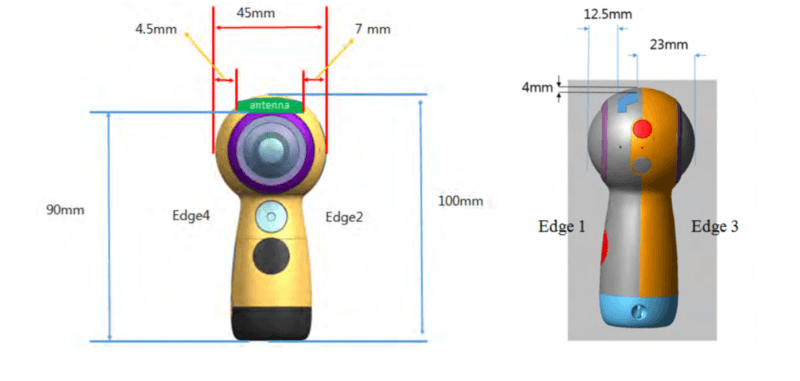 A diagram of the new Samsung Gear 360, as submitted to the FCC
