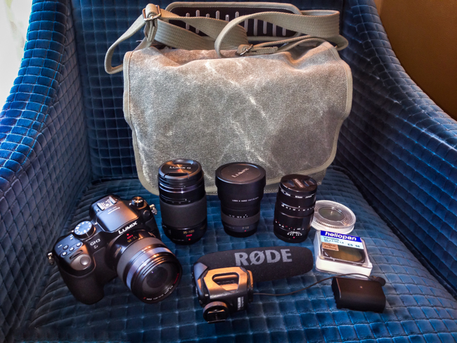 My ThinkTank Retrospective 7 bag along with the GH4, lenses, RØDE VideoMic Pro and a few odds and ends.