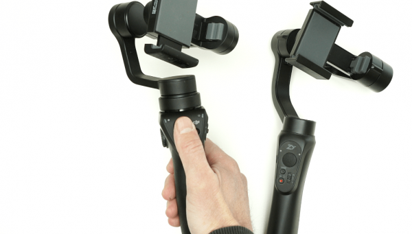 The DJI Osmo Mobile (L) and the Zhiyun Smooth-Q (R) smartphone gimbals