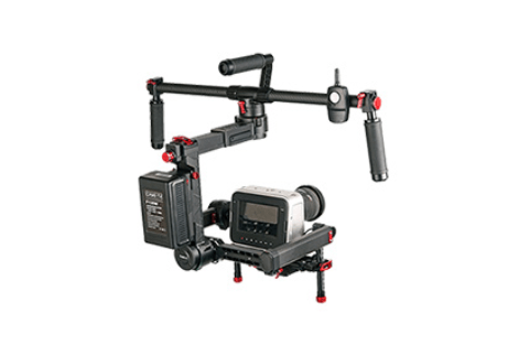 CAME-PRODIGY Gimbal with V-Mount Battery Plate, supporting a Blackmagic CInema Camera