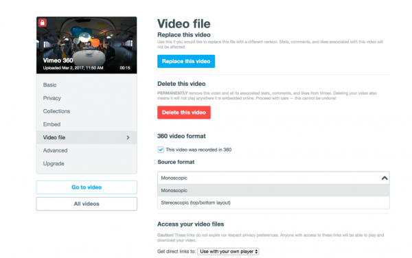 Vimeo's 360 video services will support both monoscopic and stereoscopic video, add metadata, customize player embed settings, capture email leads and insert calls to action.