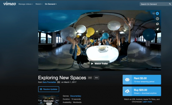 In addition to supporting 360 video, Vimeo's latest update includes support for its Video On Demand marketplace.