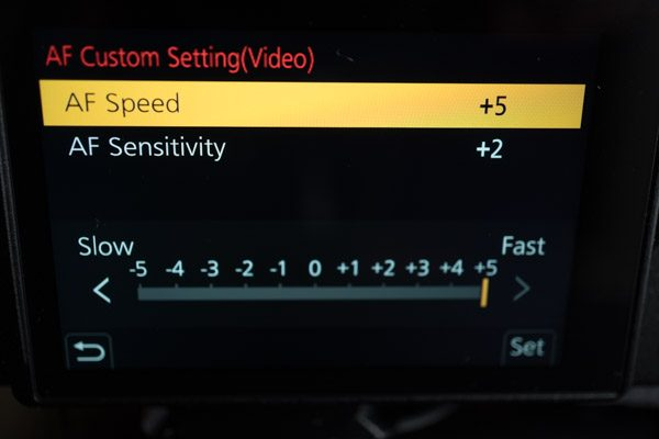 GH5 Continuos AF Speed menu