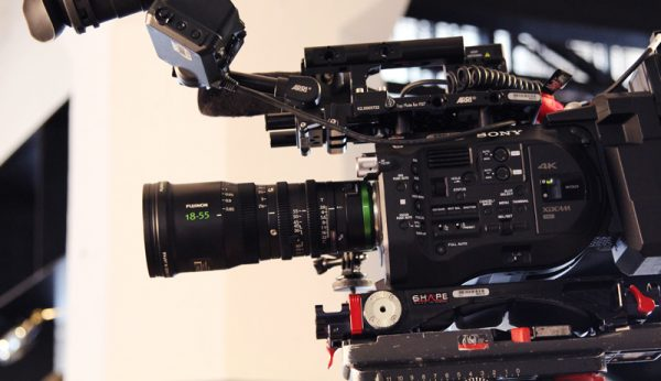 Sony FS7 camera during filming for Behind the Lens