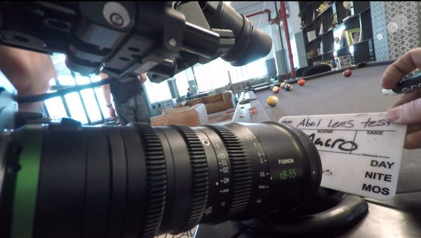 A Fujinon 18-55 T2.9 lens being tested for Behind The Lens