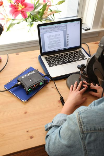 The Sound Devices MixPre-3 being used to record a podcast