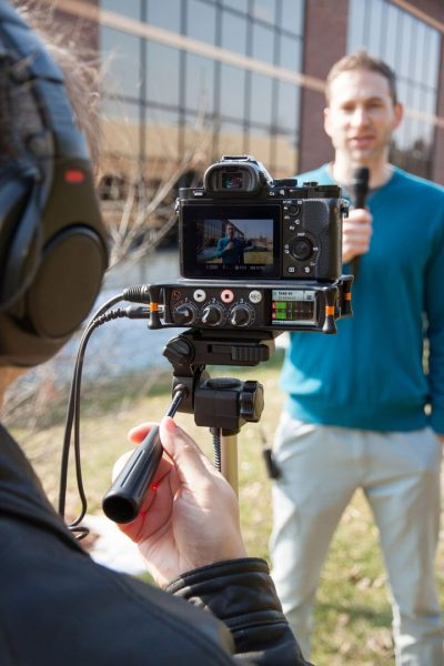 Sound Devices MixPre-3 being used as an on-camera recorder