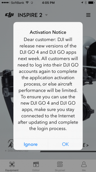 DJI update: New process for activating software and firmware updates