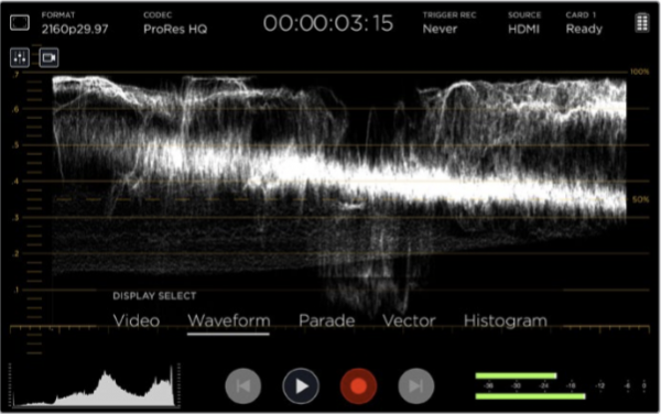 Waveform on Video Assist 4K