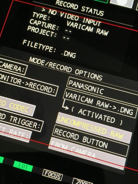RAW recording on the Panasonic VariCam LT