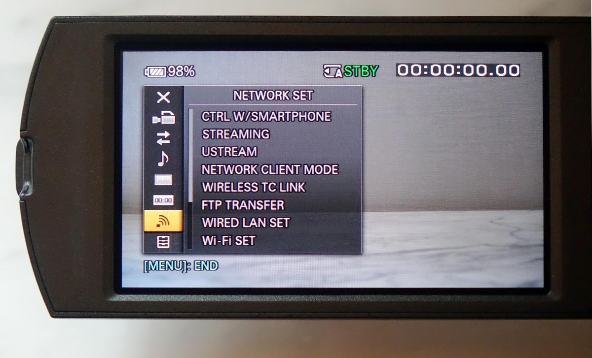 Pxw Z90 First Footage From Sonys Palm Sized Xdcam Broadcast Sony X70 Professional Handycam X 70 Original 100 The Network Menu Screen