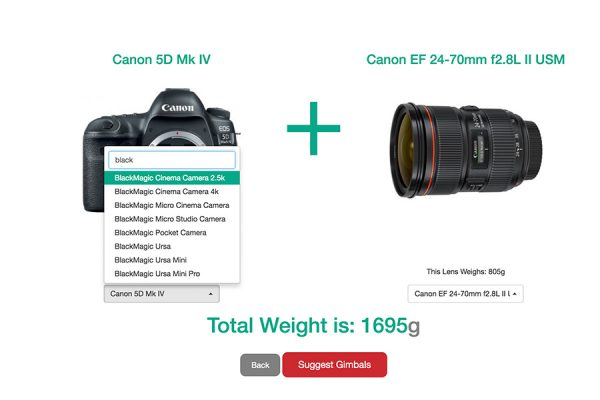 select your camera body & lens combination