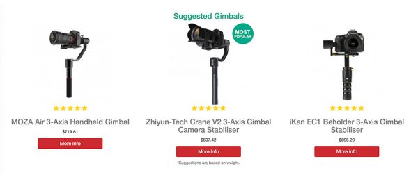 suggested gimbals based on device weight