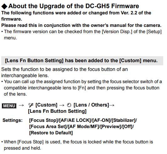Panasonic GH5 Manual