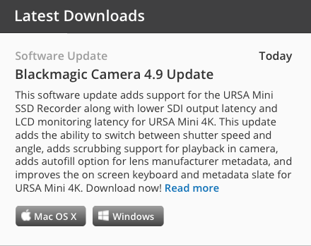 Blackmagic Camera Update 4.9