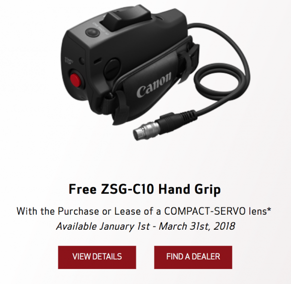 Get a free ZSG-C10 Zoom Servo Grip when you purchase a Canon COMPACT-SERVO lens