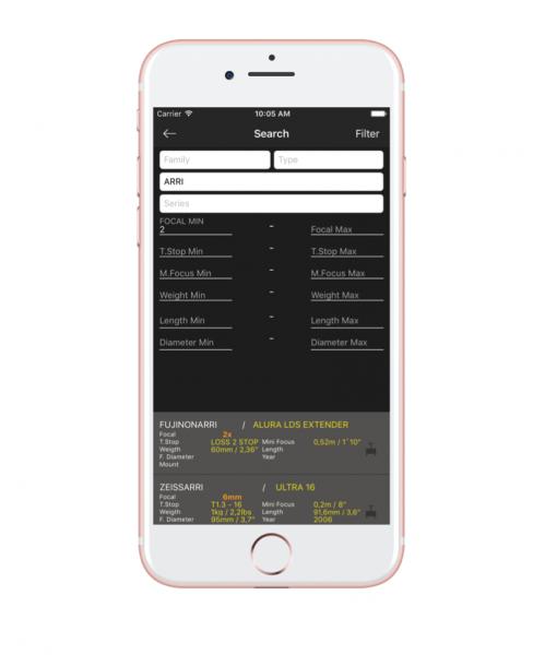 CineLenses App a database of 2,000 lenses, plus a list of 500 rental houses worldwide