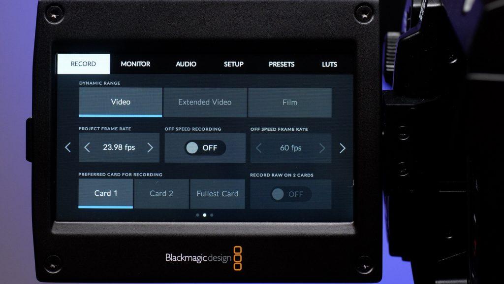URSA Broadcast Camera Review Menu