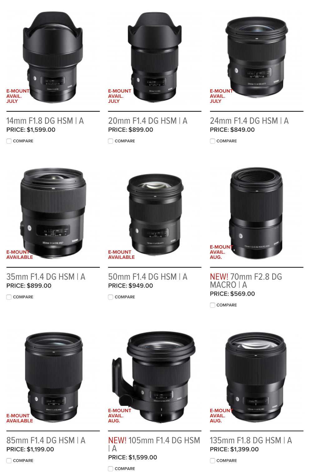 Sigma Now Has Nine E Mount Art Prime Lens Options For Sony Alpha 35mm F14 Dg Hsm I Lenses