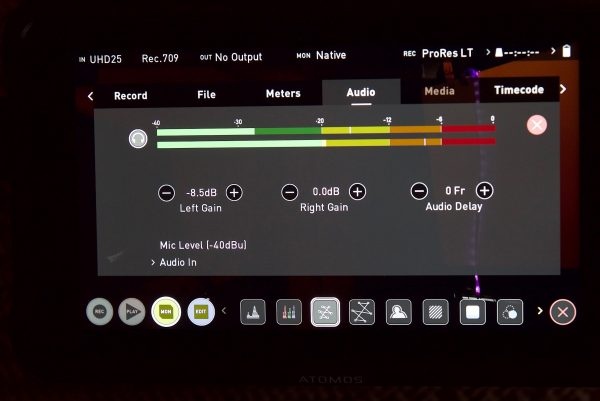 Ninja V audio settings