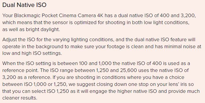 Blackmagic Dual Native ISO Explained