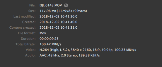 DJI Osmo Pocket 100 mbps bitrate