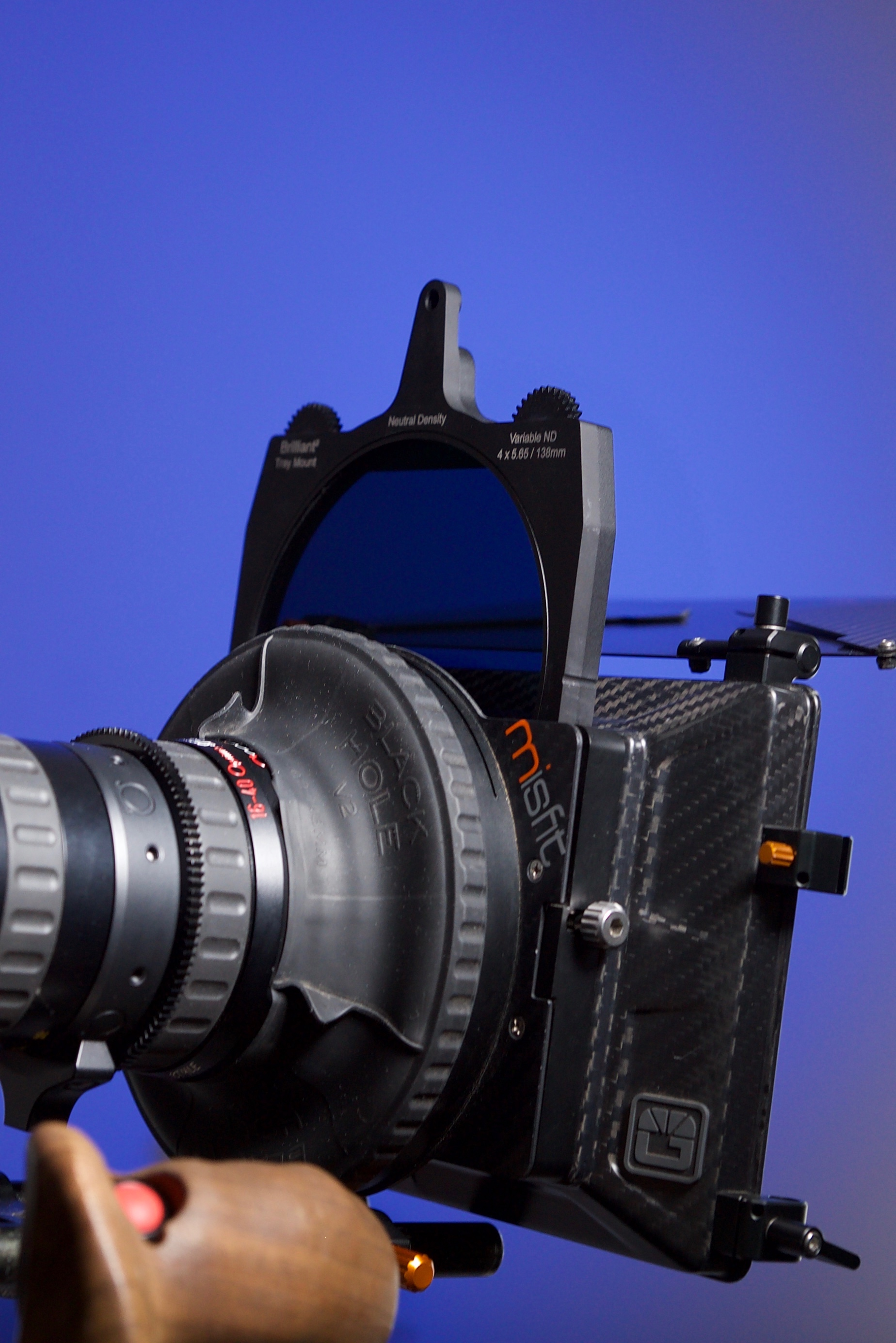 Lindsey Optics Brilliant² Variable ND in the Bright Tangerine Misfit matte box