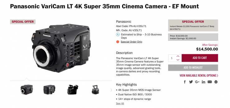 Panasonic drops the price of the Varicam LT to $9995