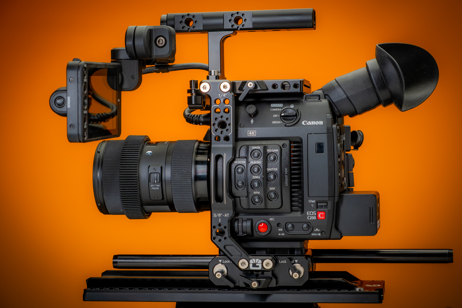 Hands-on with the Bright Tangerine Left Field Canon C200 Cage