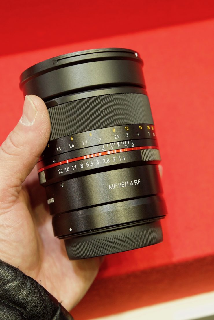Samyang 85mm F1.4 & 14mm F2.8 Canon RF Mount lens shown at CP+