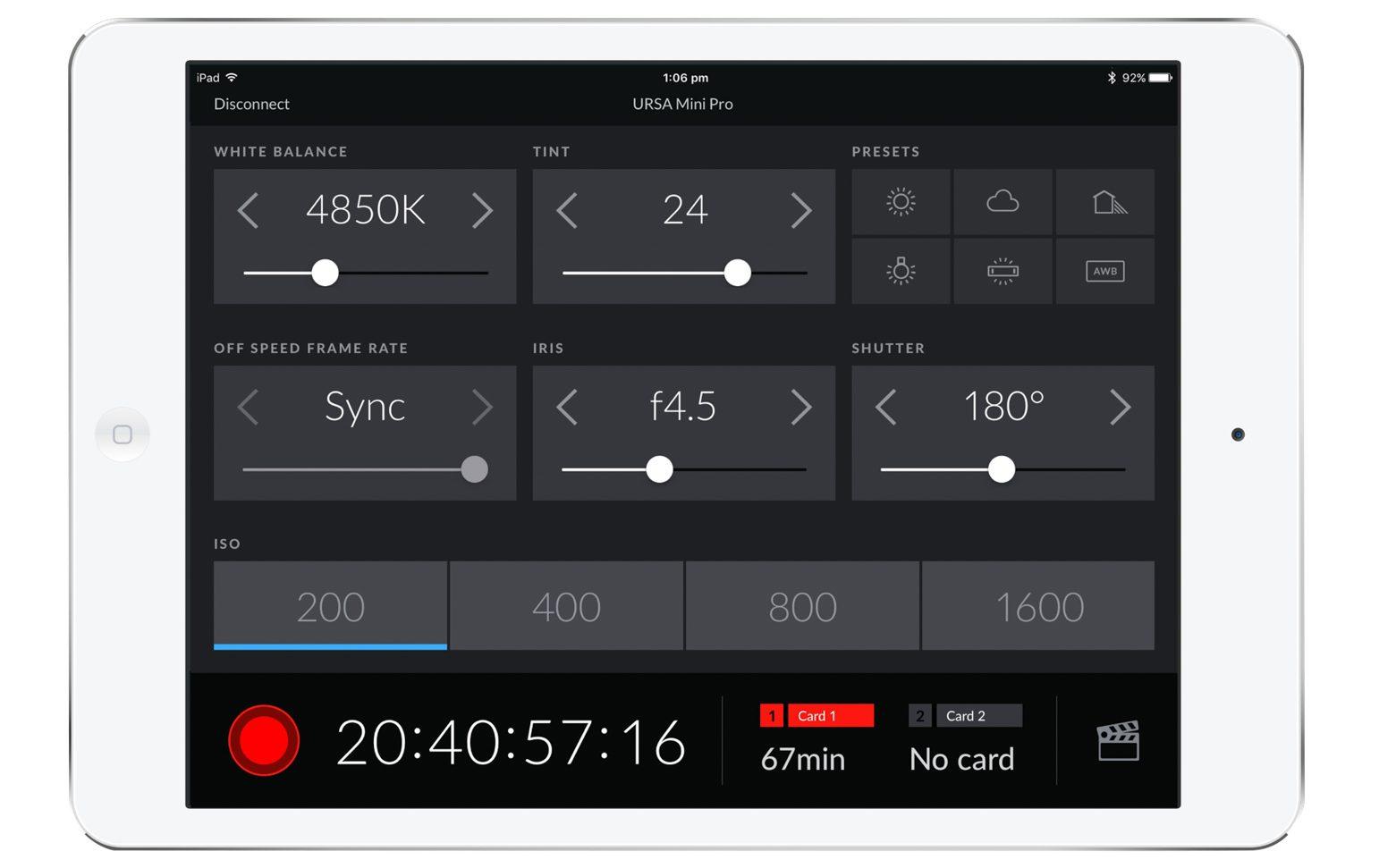 URSA Mini Pro 4 6K G2 Bluetooth With iPad